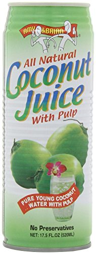 Amy & brian coconut water original, 17. 5 ounce can (pack of 12) 1 never from concentrate, non-gmo, and all natural from young coconuts in thailand. Contains potassium, magnesium, calcium and other essential electrolytes to keep you going throughout the day. Delicious and nourishing as an everyday drink with no added sugars or artificial additives; refreshing and hydrating before, during or after exercise.