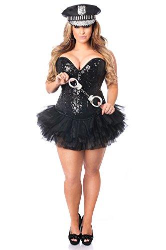 Daisy Corsets Women's Top Drawer 4 Pc Sexy Cop Corset Costume, Black Small]()