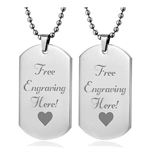 Interway Trading Personalized Regular Size Custom Message Engraved Stainless Steel Necklace Dog Tag Pendant with 24 inch Chain,Velvet Giftpouch and Keyring (Rectangular Silver)