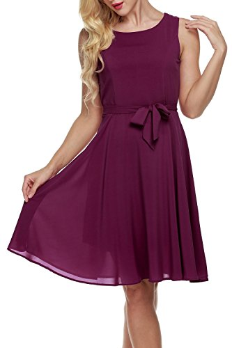 OURS Women's Summer Sleeveless Chiffon Pleated Cocktail Party Dress With Belt (M, Purple Red)