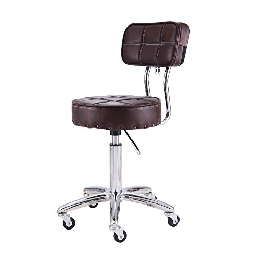 Adjustable Swivel Office Chair (RFIVER 13.2inch Seat Cushion Ergonomic PU Leather Adjustable Rolling Office Work Stool Chair Swivel Home Desk Chairs with Backrest and Chrome Metal Base in Brown SC1003-2)