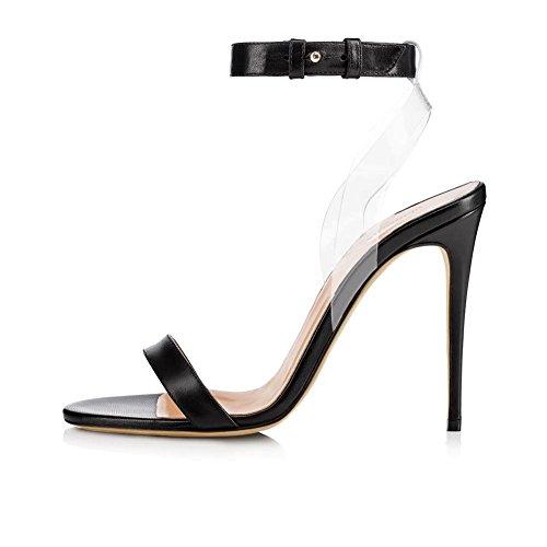 Mujeres Tobillo Correa Mirar furtivamente Dedo del pie Estilete Alto Tacón Sandalias Negro Oro Señoras Zapatos Fiesta Vestir Club nocturno Black