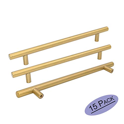 Goldenwarm 15pcs Brushed Brass Cabinet Cupboard Drawer Door Handle Pull Knob LS201GD224 for Furniture Kitchen Hardware 8-4/5in Hole Center 11-1/3in Overall Length