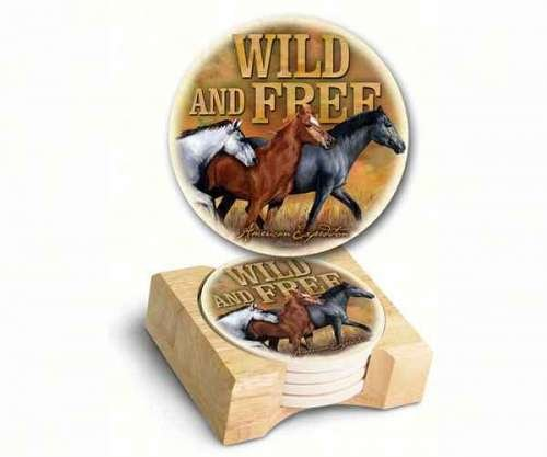 (American Expedition AMECTSTMUST Wild and Free Mustang Stone Coaster (Set of 4))