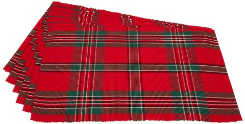 Holiday Plaid 100% Cotton Ribbed Placemats for Holiday, Family Fatherings, & Christmas - 13x 19