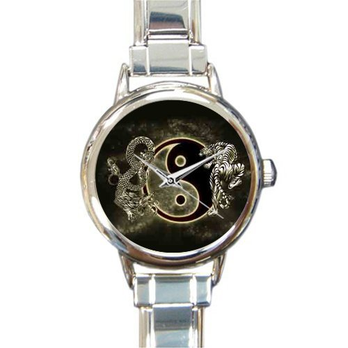 Chinese Traditional Taichi Symbol Background Printed Round Stainless Steel Watch For Women And Girl Use