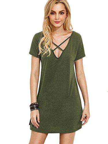 Romwe Women's Summer Short Sleeve Loose Tunic Casual T-Shirt Dress Green L