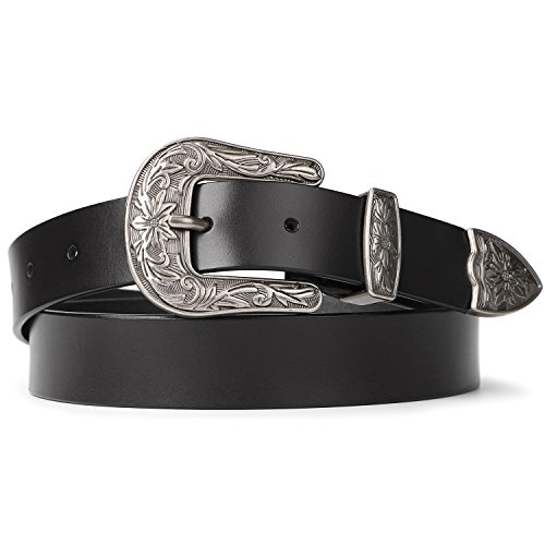 (Western Belts for Women Black Fashion Skinny Leather Belt with Vintage Buckle 1.0 Inch Wide)