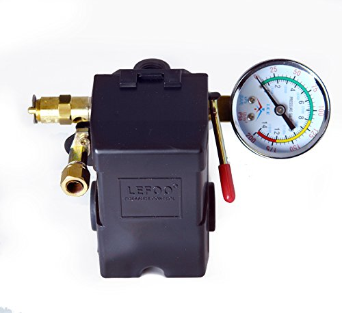 Air Compressor Pressure Control Switch 4 Ports 95-125 PSI w/ 0-200 PSI Gauge 150 PSI pop off valve