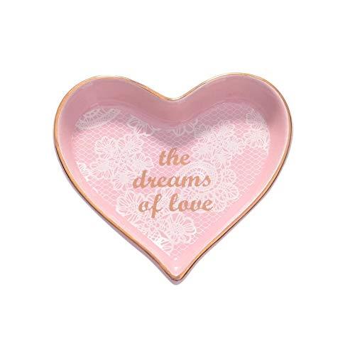 CheeseandU 1Pack Heart Shape Ceramic Jewelry Tray Cute Handpainted Trinket Love Design Cosmetic Holder Dish Desserts Snack Fruit Saucer Plate Home Decor Wedding Birthday Valentine's Gift, Small Pink