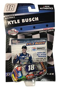 NASCAR Authentics Kyle Busch #18 Diecast Car 1/64 Scale - 2018 Wave 2 - Kyle Busch No. 18 Caramel All-Star Race Win with Trading Card - Blue - Collectible - 18 Die Cast Car