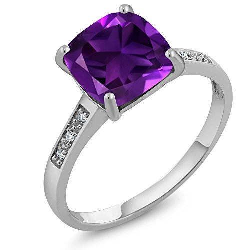 10K White Gold Cushion Cut 8MM Purple Amethyst and Diamond Women's Ring (2.05 cttw, 8MM Center, Available in size 5, 6, 7, 8, 9) (Gold Ladies Fashion Amethyst Ring)