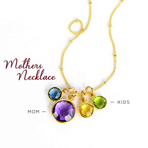 Custom Grandmother Pendant Necklace with Hers, the Kids, and Grandkids birthstones [RDCS-L/M/S]