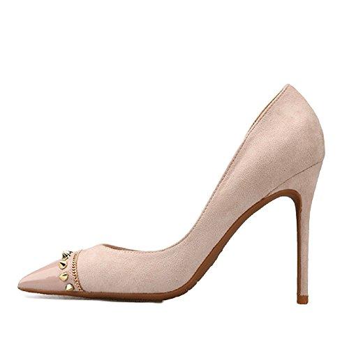 Air Rivets Pompes Toe Travail Court Profonde Talon Pink Stiletto 10cm Peu De Chaussures Femmes Bouche Chaussures Haut Pointu Conseils 35 Sexy PwaT1q