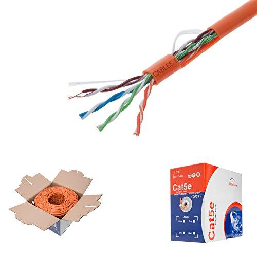 (1000ft Cat5e Orange Solid 24AWG Cable UTP Cat5 Bulk Network Wire (Unshielded (UTP), Orange))