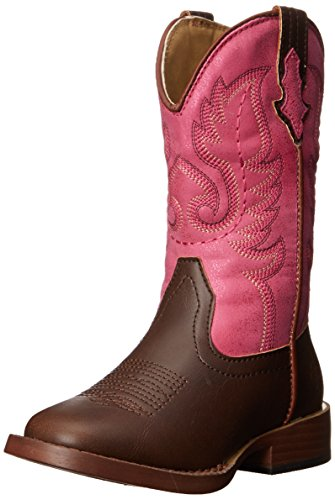 Roper Texsis Square Toe Cowgirl Boot (Toddler/Little Kid), Pink, 7 M US Toddler