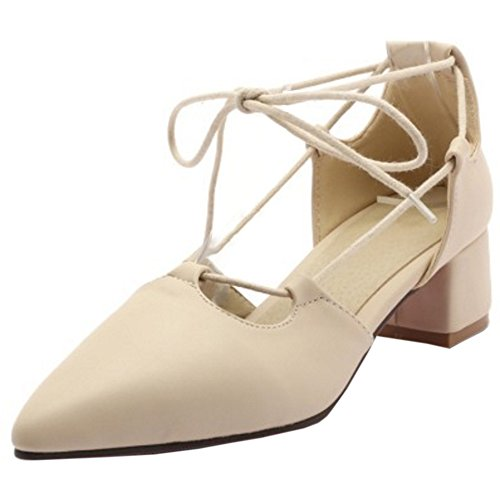 TAOFFEN Women Casual Block Mid Heel Lace Up Pointed Toe Court Shoes Beige Z5L6i