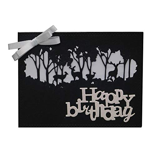Tharv Cutting Dies, Happy Birthday Floral Paper Metal Die Cut Stencil Template for DIY Scrapbook Photo Album Embossing Invitation Craft Card Making (D) ()