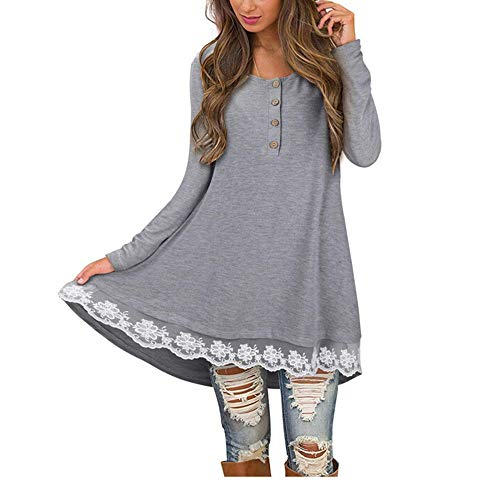 Pants Snowboard Union (OrchidAmor Women Autumn Casual Long Sleeve O-Neck Button Solid Lace T Shirt Blouse Tops Gray)