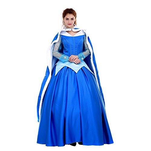 [Angelaicos Womens Deluxe Princess Costumes Satin Lolita Dress Cloak Petticoat (L, Blue)] (Princess Bride Halloween Costumes)