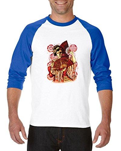 Blue Tees Geisha Skull Costume Halloween Fashion People Best Friend Couples Gifts Unisex Raglan Baseball T-Shirt X-Large White (Geisha Couple Costumes)