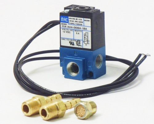 MAC 3 Port 12 volts - 5.4W Electronic Boost Control Solenoid Valve W/Barbed Brass Fittings