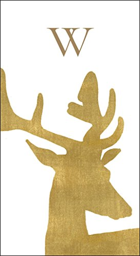 Christmas Bathroom Décor Christmas Hand Towels Monogrammed Initials Gold Alpine Stag 100 Pc W by Caspari