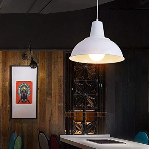 NANGE Loft Chandelier,Industrial Creative Arts Ancient Single Head Pendant Lights,Black Dress Droplight,E27(Without Light Source) (Color : White, Size : AC 110V) by NANGE (Image #3)
