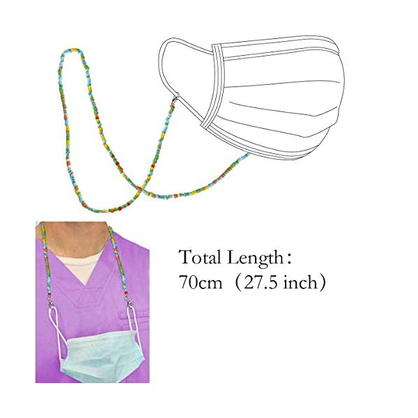 SHIWE 12PCS Face Mask Lanyard for Women Men Colorful Bead Face Mask Holders Eyeglass Chains Mask Clamp Necklace Strap with Clips Mask Leash