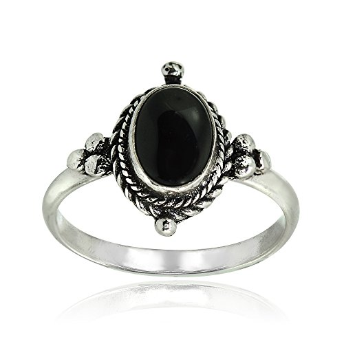 Sterling Silver Simulated Cabochon Onyx Oval Bali Twist Rope Ring, Size 8 ()
