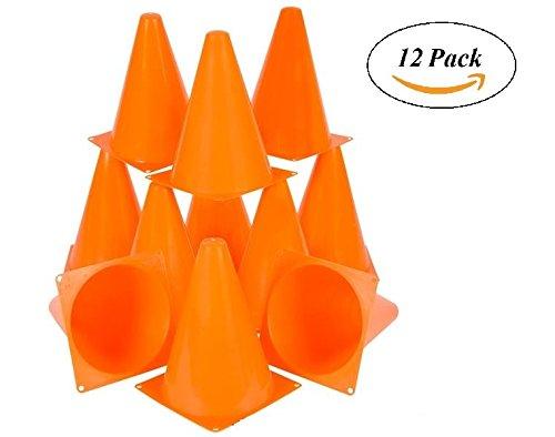 "Traffic Cones Plastic - 12 Pack Of 7"" Multipurpose Construction Theme Party..."