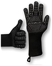 Adamant Rękawice do grilla odporne na wysokie temperatury do 800 stopni, z pętelkami magnetycznymi, bardzo długie, czarne   rękawice do grilla rozmiar uniwersalny   akcesoria do grilla gazowego, grilla, prezenty dla mężczyzn