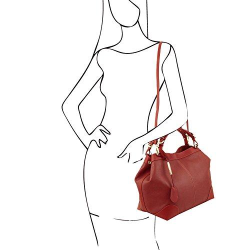 Tuscany Leather Ambrosia Bolso en piel suave con bandolera Rojo Bolsos con asas Rojo
