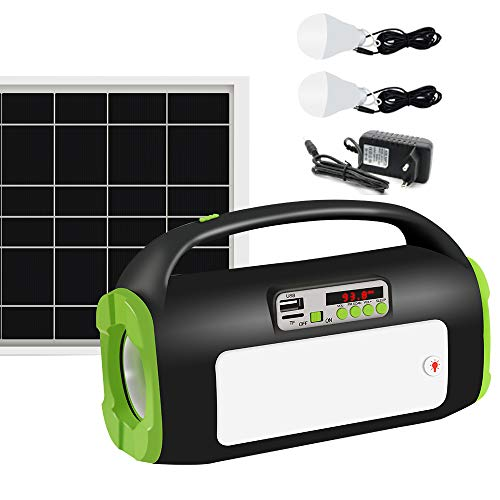 UPEOR Solar Generator Lighting System Portable Solar Power Generator Kit for Emergency Power Supply,Home & Outdoor Camping,Including MP3&FM Radio,Solar Panel,3 Sets LED Lights (Dark Green)