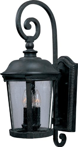 Maxim 40095CDBZ Dover VX 3-Light Outdoor Wall Lantern, Bronze Finish, Seedy Glass, CA Incandescent Incandescent Bulb , 40W Max., Dry Safety Rating, Fabric Shade Material, Rated Lumens