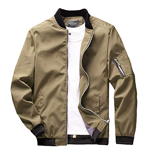 (sandbank Men's Slim Fit Lightweight Sportswear Flight Bomber Jacket Softshell Casual Coat (Khaki, US S (Asian Tag XL)))