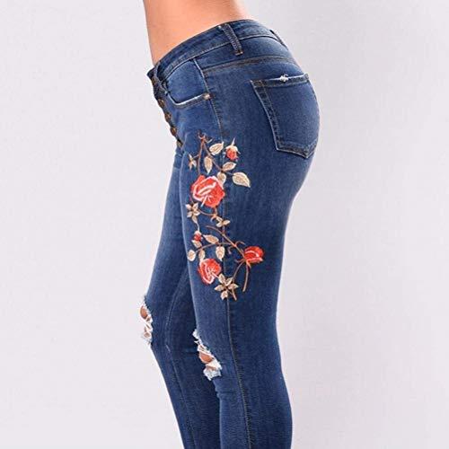Botón De Bolsillos Lápiz Slim Bordado Vaqueros Elástico Las Flaco Blau2 Fit Flor Mujeres Casuales Pantalones Con Mezclilla S8w75q