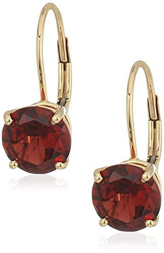 10k Yellow Gold Red Garnet Round Lever Dangle Earrings