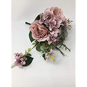 "12"" Dusty Pink Gray Rose Hydrangea Bouquet Silk Wedding Bridal Bridesmaid Flowers S1012 2"