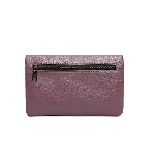 FZHLY Versione Coreana Del Semplice Tracolla In Pelle Sacchetto Del Metallo Ornamenti PU,Purple