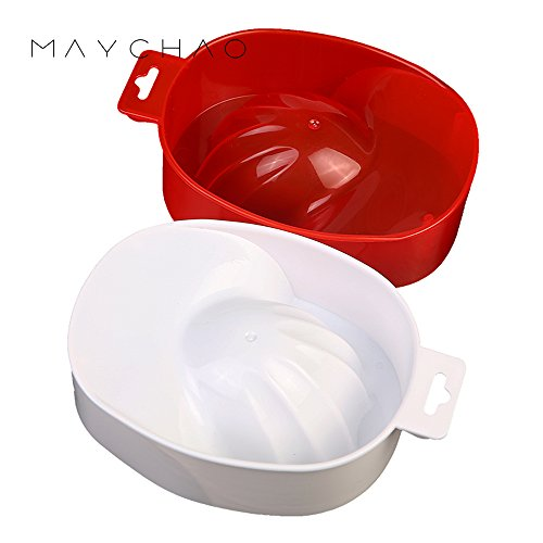 Maychao Nail Art Tips Soak Bowl Tray Treatment Remover Manicure (White and Red) (Treatment Art Nail)