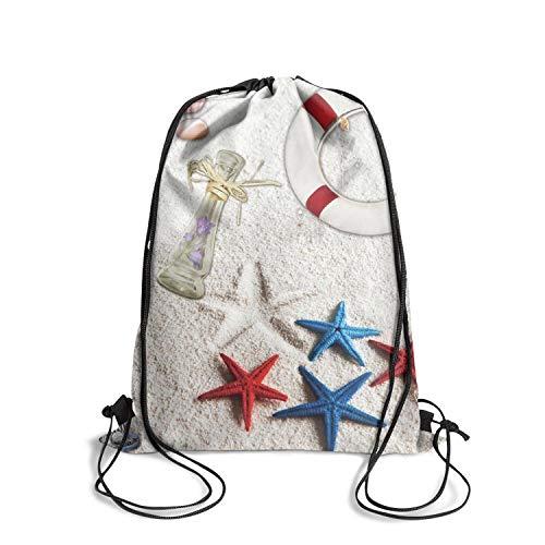 (Seashell Collage Summer Sea Stars Drawstring Backpack Sport Rucksack Cinch Bags Lightweight Gym Bag For Hiking Yoga Gym Swimming Traveling Beach)