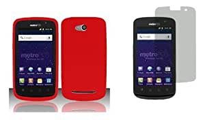 Coolpad Quattro 4G (MetroPCS) Premium Combo Pack - Red Silicone Soft Skin Case Cover + Atom LED Keychain Light + Screen Protector