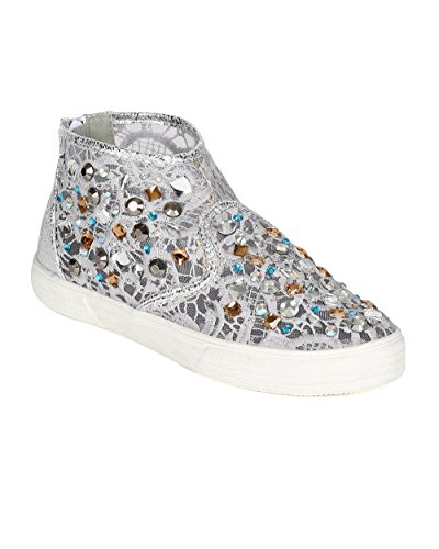 (Women Mixed Media Mesh Lace Crochet Rhinestone High Top Sneaker CC24 - Grey Leatherette (Size: 8.0))