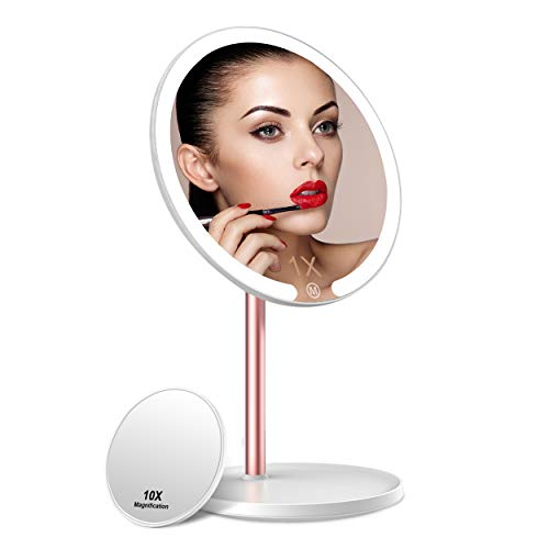 Lighted Makeup Mirror, Vanity Mirror with Lights 10X Magnification Mirror, Rechargeable Touch Screen 3 Colors Lighting Dimmable Cosmetic Mirror, Detachable Portable 360° Rotation Tabletop Mirror