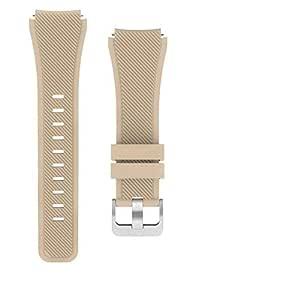 Samsung Galaxy Watch 46 Mm Uyumlu Markacase Silikon Kordon Kayış (Krem Rengi)