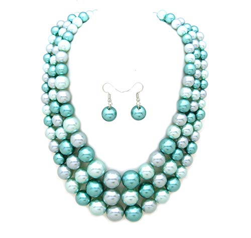 Women's Simulated Faux Three Multi-Strand Pearl Statement Necklace and Earrings Set (Light Blue Mix Tone)
