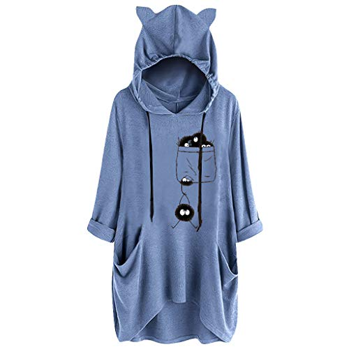 GREFER Pullover Sweatshirts for Women Funny Pattern Long Sleeves Tops Cute Cat Ear Hoodies Irregular Blouse Blue