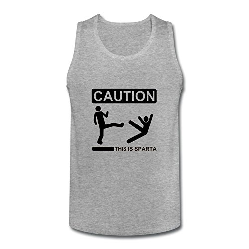 RURER Men's Caution This Is Sparta Tank Top Deep Heather XXXL