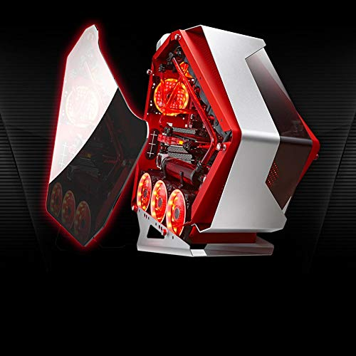 ATX Mid Tower Gaming Computer Case, Tempered Glass Supports 360mm GPU/360mm AIO Liquid Cooling, 4 x 120mm RGB LED Case Fans,Red